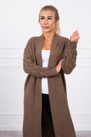 Kapučino spalvos ilgas megztinis kardiganas MOD729