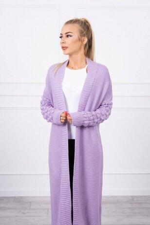 Violetinės spalvos ilgas megztinis kardiganas MOD729