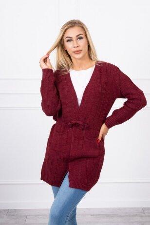 Kaštoninės spalvos megztinis MOD737