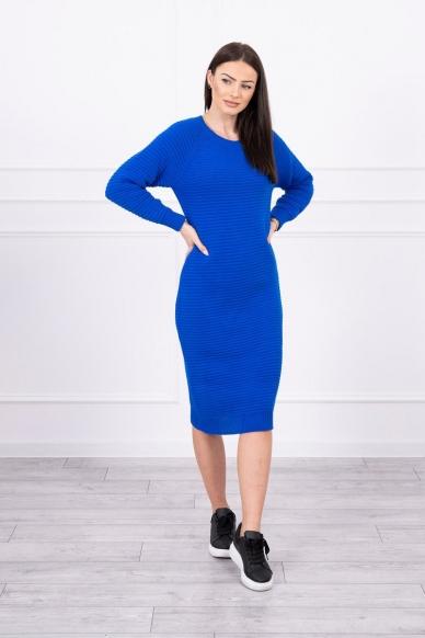 Rugiagėlių spalvos ilgas megztinis suknelė MOD492