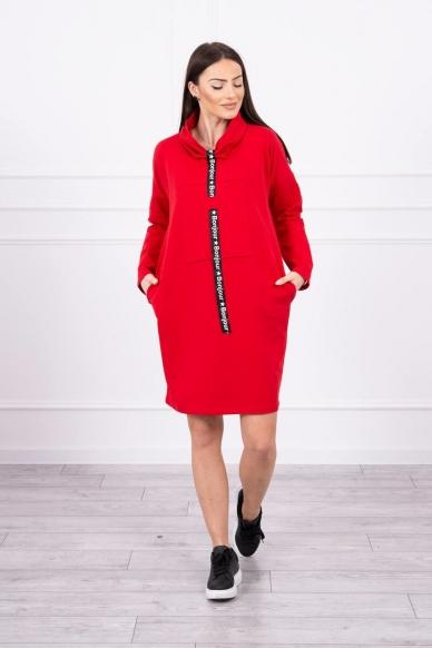 Raudona suknelė tunika MOD479 3
