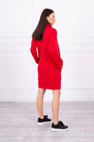 Raudona suknelė tunika MOD479 2
