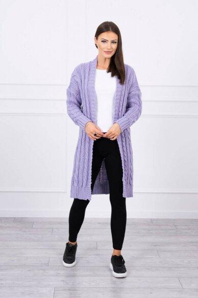 Violetinės spalvos ilgas megztinis kardiganas MOD441 2