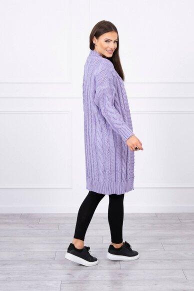 Violetinės spalvos ilgas megztinis kardiganas MOD441 3