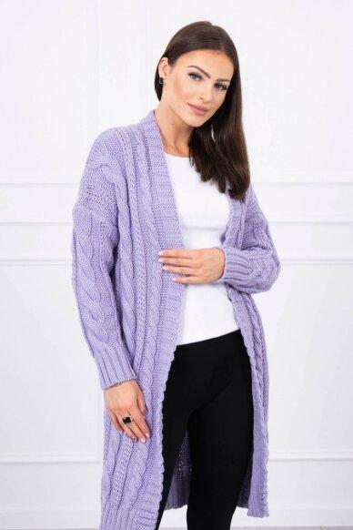 Violetinės spalvos ilgas megztinis kardiganas MOD441