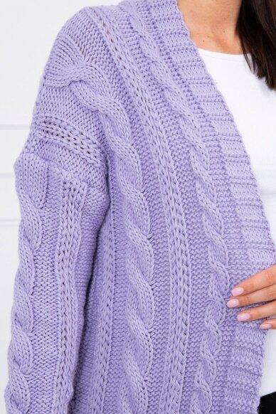 Violetinės spalvos ilgas megztinis kardiganas MOD441 4