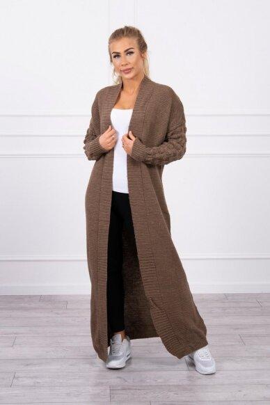 Kapučino spalvos ilgas megztinis kardiganas MOD729 3