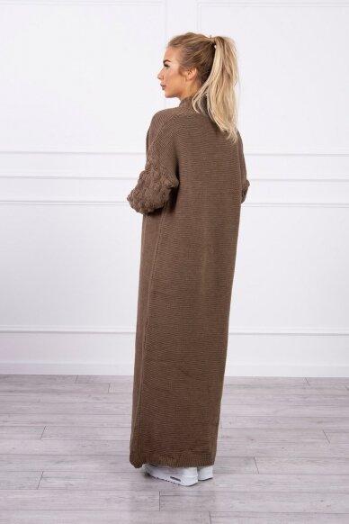 Kapučino spalvos ilgas megztinis kardiganas MOD729 2
