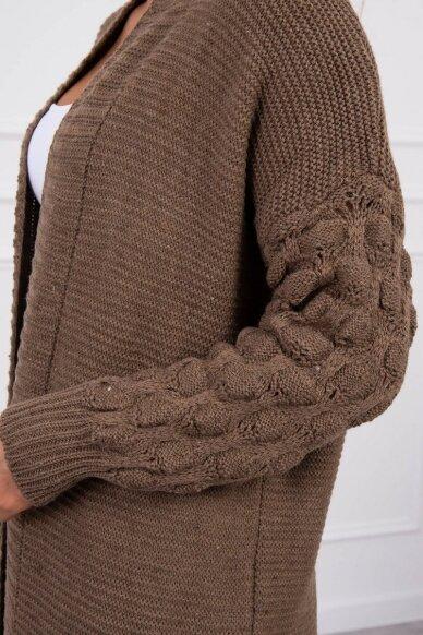 Kapučino spalvos ilgas megztinis kardiganas MOD729 4