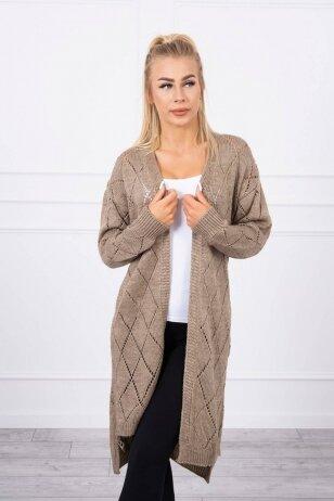Kapučino spalvos ilgas megztinis kardiganas MOD735