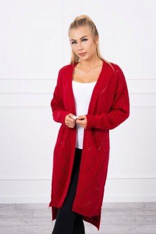 Raudonas ilgas megztinis kardiganas MOD735