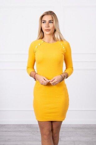 Garstyčių spalvos suknelė MOD703