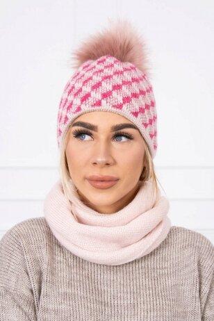 Nude spalvos žieminė kepurė ir šalikas K155