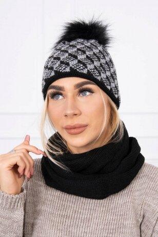 Juoda žieminė kepurė ir šalikas K155