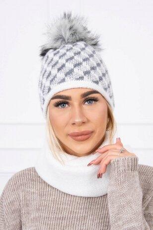 Šviesiai pilka žieminė kepurė ir šalikas K155