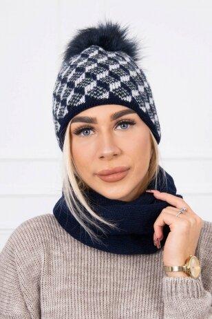 Tamsiai mėlyna žieminė kepurė ir šalikas K155