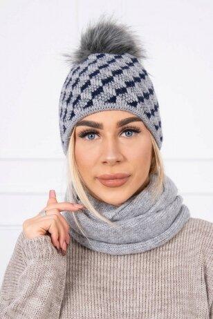 Tamsiai pilka žieminė kepurė ir šalikas K155