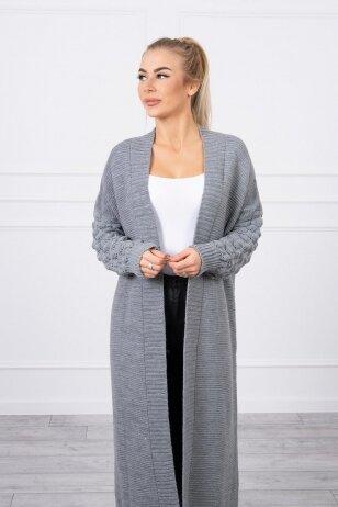 Tamsiai pilkas ilgas megztinis kardiganas MOD729