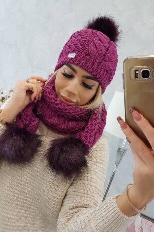 Tamsiai violetinė žieminė kepurė ir šalikas K110