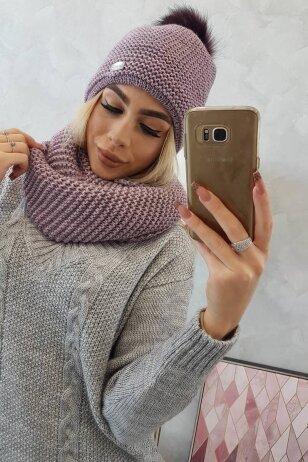 Violetinė kepurė ir šalikas K113