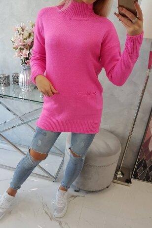 Rožinės spalvos megztinis MOD498