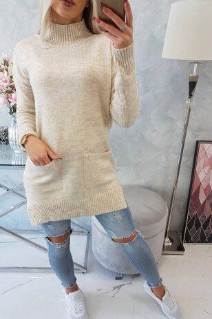 Smėlinės spalvos megztinis MOD498