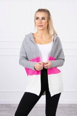 Megztinis kardiganas MOD406 - pilka+neoninė rožinė+nebalinta drobė