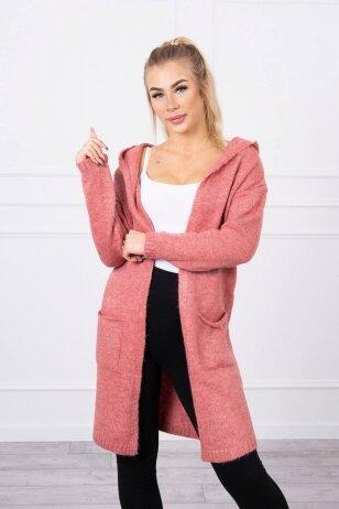 Šviesiai rožinės spalvos megztinis kardiganas MOD736