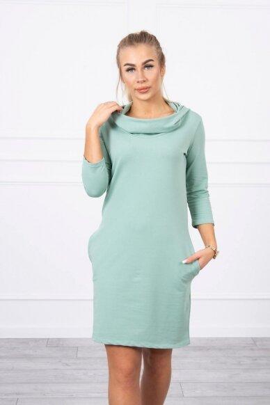 Tamsiai mėtinės spalvos suknelė MOD011
