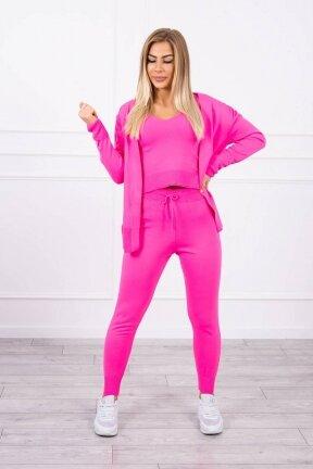 Neoninės rožinės spalvos moteriškas kostiumėlis MOD876