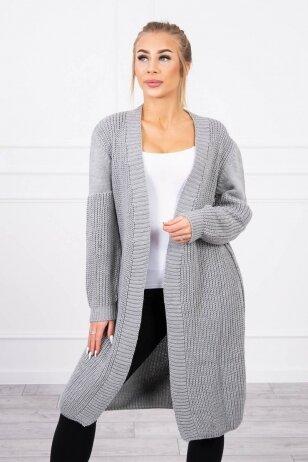 Tamsiai pilkos spalvos ilgas megztinis kardiganas MOD307