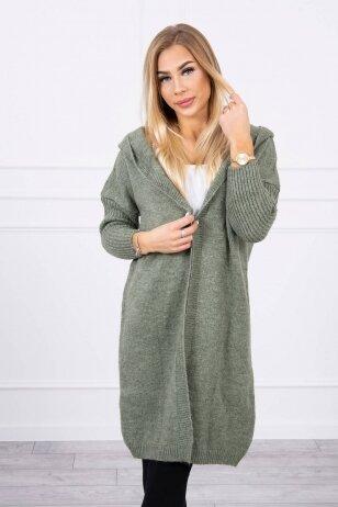 Tamsiai mėtinės spalvos megztinis kardiganas MOD763