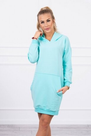 Mėtinės spalvos suknelė MOD726