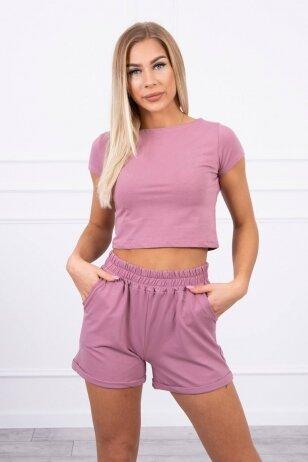 Tamsiai rožinės spalvos moteriškas kostiumėlis MOD688