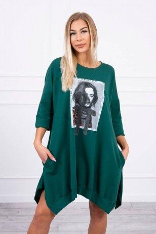 Žalia suknelė tunika MOD461