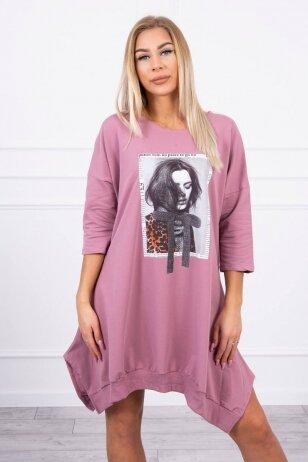 Tamsiai rožinė suknelė tunika MOD461