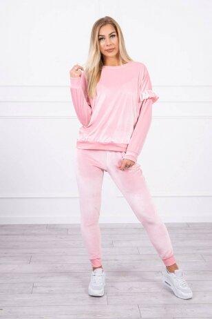 Šviesiai rožinės spalvos veliūrinis kostiumėlis MOD856