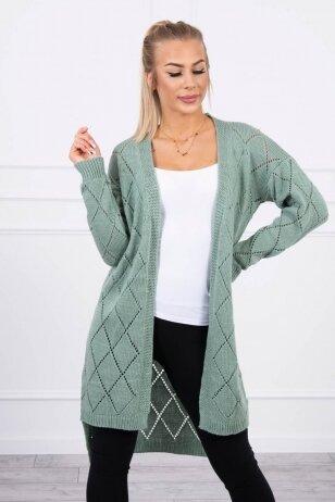 Tamsiai mėtinės spalvos ilgas megztinis kardiganas MOD735