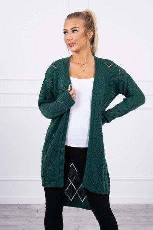 Žalias ilgas megztinis kardiganas MOD735