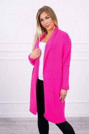 Neoninės rožinės spalvos ilgas megztinis kardiganas MOD319