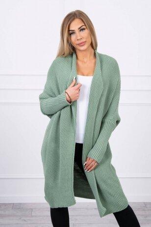 Tamsiai mėtinės spalvos ilgas megztinis kardiganas MOD319