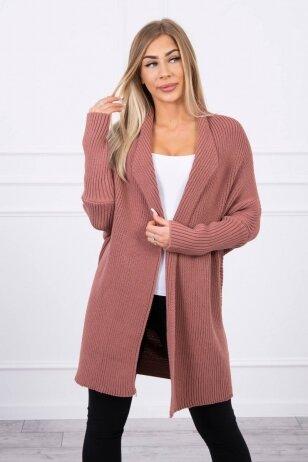 Tamsiai rožinės spalvos ilgas megztinis kardiganas MOD319