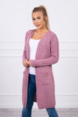 Tamsiai rožinės spalvos ilgas megztinis kardiganas MOD728