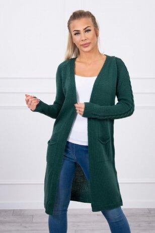 Žalias ilgas megztinis kardiganas MOD728