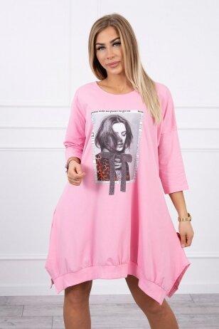 Šviesiai rožinė suknelė tunika MOD461
