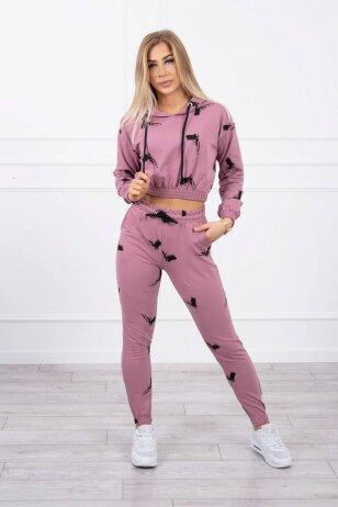 Tamsiai rožinės spalvos sportinis kostiumas MOD873