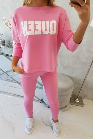 Rožinės spalvos sportinis kostiumas MOD623
