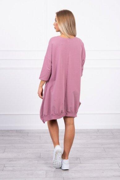 Tamsiai rožinė suknelė tunika MOD461 2