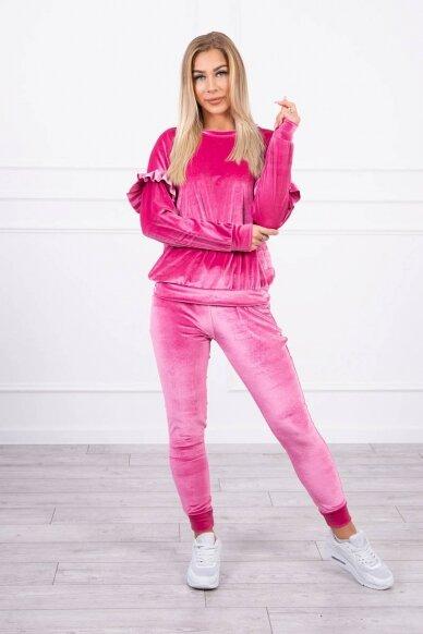Rožinės spalvos veliūrinis kostiumėlis MOD856