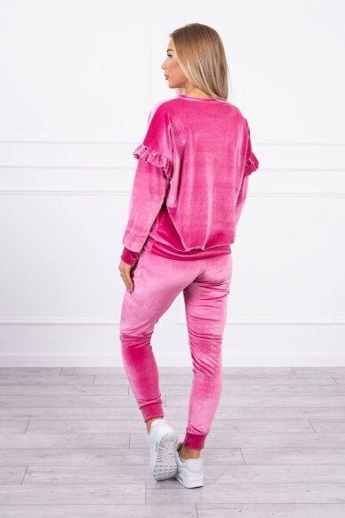 Rožinės spalvos veliūrinis kostiumėlis MOD856 2